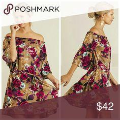 Coming Soon Floral Print Dress Floral Print off shoulder dress with tie on waistline. Dresses