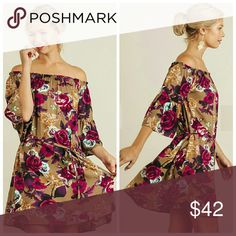 Coming Soon Floral Print Dress Floral Print off shoulder dress with tie on waistline. Dresses
