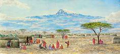 Mountain Village by Joseph Thiongo Mount Kenya, Mountain Village, Kilimanjaro, Framed Prints, Canvas Prints, East Africa, Wood Print, Joseph, Wall Art