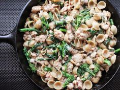 Skillet Orecchiette with Sausage and Broccoli Rabe  (use gluten free pasta and breadcrumbs)