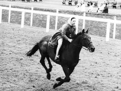Photographic Print: Princess Margaret Riding a Horse at Ascot Before Spectators Arrive For Meeting : 24x18in