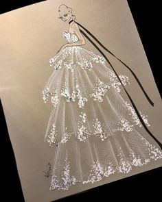 Romantic drama with endless sweeping lace in the spring 2018 bridal show. Fashion Design Sketchbook, Fashion Design Portfolio, Fashion Design Drawings, Fashion Sketches, Fashion Drawing Dresses, Fashion Illustration Dresses, Paper Fashion, Fashion Art, Fashion Illustration Tutorial