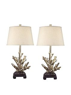 Home Philosophy Set of 2 Modern Coral Sculpture Lamps, Silver