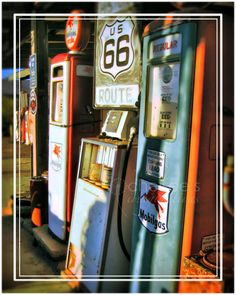 Vintage gas pumps on Route 66 via etsy.com