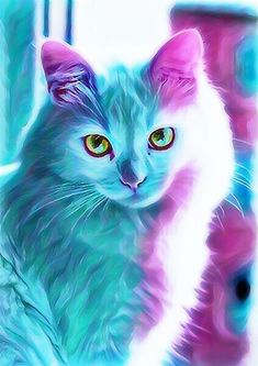 blue and purple cat Baby Animals Pictures, Cute Animal Photos, Cute Baby Animals, Colorful Animal Paintings, Colorful Animals, Cute Fantasy Creatures, Mythical Creatures Art, Cute Cat Wallpaper, Animal Wallpaper