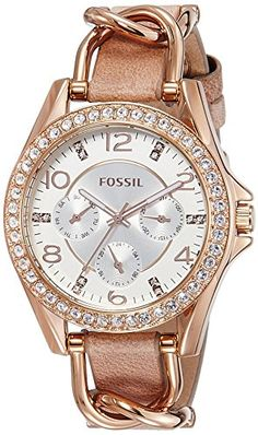 Now in stock Fossil Women's ES3466 Riley Rose Gold-Tone Stainless Steel and Leather Watch with Crystal Accents