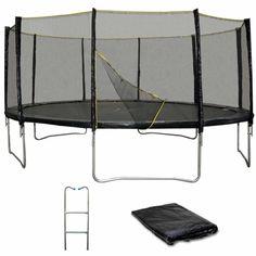 Pack Trampoline 490cm Noir avec filet, échelle et bâche #trampoline #sport #jardin #trampolineenfant #jeux #extérieur #loisirs #enfants