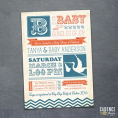 Vintage Baby Shower Invitation Stork Baby Shower by CadencePaige