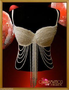Charismatico Gorgeous Showgirl Burlesque Sexy GOGO pearl bra