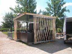 Built by partnerundpartner-architekten in Potsdam, Germany with date 2009. Images by Stefan Günther. The Kiosk is located in the Park of the Bundesgartenschau in Potsdam, Germany. As an extension to an existing café it...
