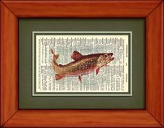 Dictionary Print  Brook Trout  6 3/4 x 9 3/4 by PagesOfAges, $7.00