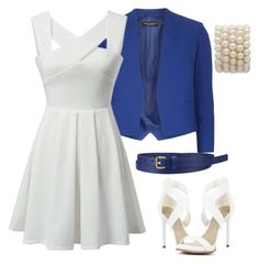 White & Blue by neringa-ltu on Polyvore featuring polyvore fashion style Dorothy Perkins BCBGMAXAZRIA Uniqlo
