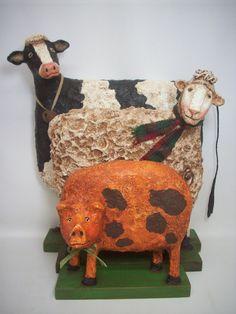 Animales arte popular primitivo papel maché vaca oveja cerdo