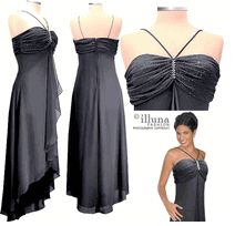Clearance - Prom Dress Brooch  Black High Low Flounce Beaded
