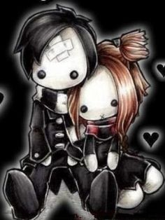 Adorable by on DeviantArt Creepy Drawings, Cool Drawings, Emo Love Cartoon, Emo Cartoons, Emo Pictures, Emo Pics, Pretty Pictures, Teddy Bear Tattoos, Emo Couples