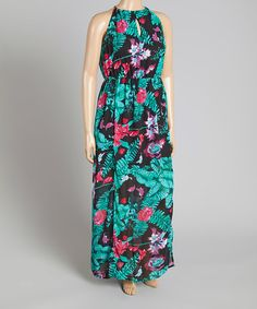 Another great find on #zulily! Black & Green Floral Maxi Dress - Plus #zulilyfinds