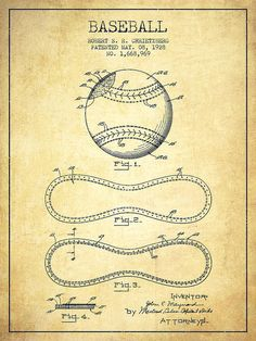 Baseball Patent Poster featuring the drawing Baseball Patent Drawing From 1928…