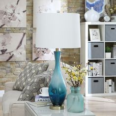 """Jasmin Blue Glass 31-inch Table Lamp - 31""""H x 15""""Rnd - On Sale - Overstock - 20818468 Contemporary Table Lamps, Modern Contemporary, Modern Table, Lamp Shade Store, Grey Glass, Blue Glass Lamp, Turquoise Glass, Glass Table, Home Decor Outlet"""