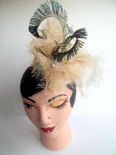 Frayed Natural Sinamay Peacock Tricorn Tilt Hat by ChefBizzaro, $150.00