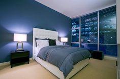 dark blue walls + white
