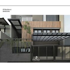 ER Residence is a house that's located at Bandung and has land area. The house resulted from the request of user needs and some image… Gate Ideas, Small Buildings, Patio Roof, Fence, House Design, Architecture, Modern, Image, Instagram