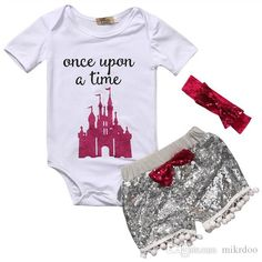 471de854157 2019 Mikrdoo Baby Cotton Set Newborn Kids Girl White Once A Time Tops House  Rompers Sequin Tassel Pants Headband Outfits Sunsuit Set 0 24M From Mikrdoo