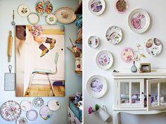Decoração com pratos na parede - Casinha Arrumada
