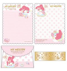 SANRIO JAPAN ORIGINAL MY MELODY FLUFFY STATIONERY LETTER SET W/ FILE FOLDER - From Julia