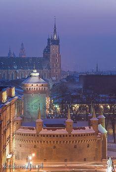 Widok na Barbakan, Bramę Floriańską i kościół Mariacki zimą