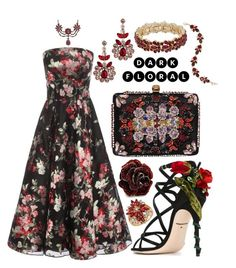 """""""Red Florals + Black"""" by alyssawui ❤ liked on Polyvore featuring Dolce&Gabbana, Fantasy Jewelry Box, Erickson Beamon, Matthew Williamson, Alexander McQueen, Charter Club, Nine West and Palm Beach Jewelry"""