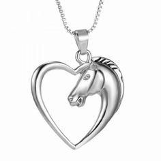 Vintage Heart Hollow Out Horse Shape Pendant Necklace