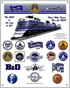 B&O fans will love this heritage tin sign with all the logos from the great railway! Metal measures 10 x with rounded corners and an hole punched in each corner. Metal is gauge aluminum. Made in the USA Heritage Train, Baltimore And Ohio Railroad, Choo Choo Train, Rail Car, Railway Posters, Train Layouts, Tin Signs, Train Rides, Wall Art