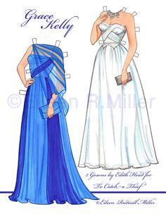 Résultat d'images pour Grace Kelly Paper Dolls Paper Doll Costume, Barbie Paper Dolls, Vintage Paper Dolls, Dolls Dolls, Grace Kelly, Paper Dolls Printable, Paper Fashion, New Blue, Paper Toys