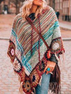 Plus Size Sweaters, Casual Sweaters, Sweaters For Women, Women's Sweaters, Estilo Hippy, Boho Theme, Manta Crochet, Types Of Sleeves, Boho Fashion