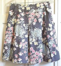 Talbots Petites Skirt Size 8P 8 Pleated Cotton Gray Pink Yellow Floral #Talbots #ALine