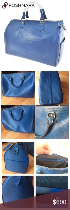 Louis Vuitton Epi Blue Leather Speedy 30 Beautiful blue leather Louis speedy 30 in great used condition! Classic shape in a bright modern color! I love this bag! Hard to find in such good shape. Please look at the pictures and if you need more or bigger ones, just ask! It has already been authenticated by a professional consigner with certificate. There is some creasing, the zipper has been replaced, light exterior wear, light inside wear. Feel free to make an offer! Louis Vuitton Bags…