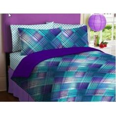 Purple  Teal Plaid Reversible Teen Girls Full Comforter Set (8 Piece Bed In A Bag)