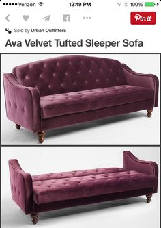 Velvet tufted sofa