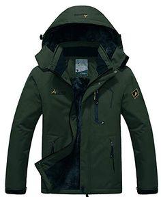 60e1e9f8c3 YXP Men s Mountain Waterproof Ski Jacket Windproof Rain Jacket(Army GreenM)  Winter Parka