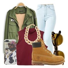 """""""Untitled #892"""" by xhappymonstermusicx ❤ liked on Polyvore featuring INDIE HAIR, Adia Kibur and Timberland"""
