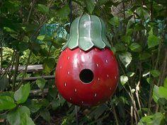 Gourd Birdhouse Strawberries Garden Decor by NatsKreations on Etsy