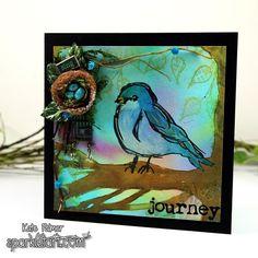 April Color Challenge using Dina Wakley Scribbly Bird (Sparkle Tart by Kate Palmer)