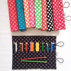 Ta Dot Pencil Roll Pick your own color custom by paperfromheaven