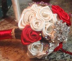 Ivory Red Purple Satin Brooch Wedding Bouquet by AvenueE for $85.00
