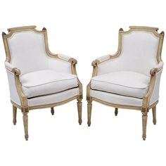 Pair of French Louis XVI Style Bergères | See more antique and modern Bergere Chairs at http://www.1stdibs.com/furniture/seating/bergere-chairs