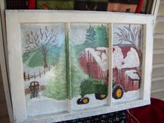 Just finished this one on a three pane vintage wooden window that features a John Deere tractor in a white snow winter country wonderland. Using my favorite paints from plaid and craft tip for realistic snow...sprinkle on Epson salt while the paint is thick and still wet. Merry Christmas everyone from Julie