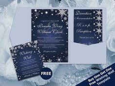 DIY Printable Wedding Pocket Fold Invitation Set A7 5 x 7 | Editable MS Word file | Winter White Snowflakes Royal Navy Blue Sparkles