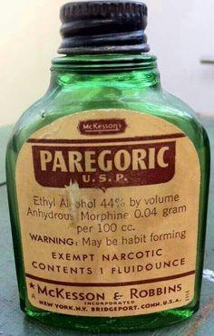 McKesson's Paregoric U. S. P. 44% alcohol Anhydrous morphine 0.04 g/100 cc.
