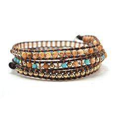 Goldtone Gray Nugget Bead Leather Wrap Bracelet Beautiful Silvertone 5 Times Wrap Beautiful Silver Jewelry