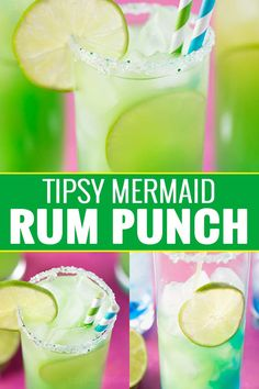 Tropical, sweet, and beautifully colored, this is one rum punch you have to try! Fun Cocktails, Cocktail Drinks, Fun Drinks, Lemonade Cocktail, Party Drinks, Refreshing Drinks, Summer Drinks, Drinks Alcohol Recipes, Drink Recipes